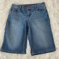 Simply Vera Vera Wang Womens Size 2 Blue Denim Roll Cuff Bermuda Jean Shorts EUC