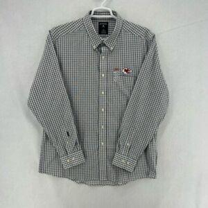 Kansas City Chiefs Antigua Mens Rank Button Up Shirt Gray Gingham Pocket XL New