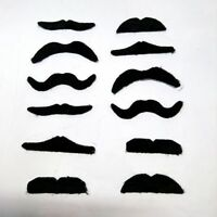 12pc Self Adhesive Black Fake Moustache Costume Mustache Party Fancy Dress Up
