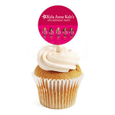 12 American Girl Doll Birthday Favor Personalized 2 inch Round Cupcake Toppers