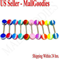 W094 Acrylic Tongue Rings Bars Barbells Stripes Shape Design LOT 10 colors Rasta