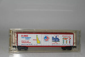 MTL N SCALE #38071 STATE OF DELAWARE BICENTENNIAL 50 FT. BOXCAR, RAPIDO COUPLERS