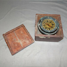 Antique RIGGS & BRO Maritime Compass with Brass Gimbal Frame Fitted in Wood Box