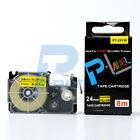 "Compatible Casio XR-24YW Black on Yellow Label Tape 24mm 8m 1 x 26"" XR-24YW1"