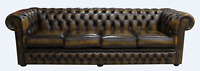 Handmade New Chesterfield Winchester 4 Seater Antique Gold Leather Sofa Settee
