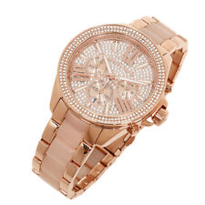 100% New Michael Kors Rose Gold Blush Chrono Womens Glitz Stainless Watch MK6096