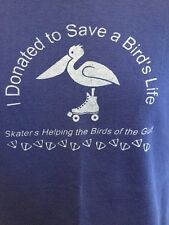 Vintage Roller Skating T Shirt Pelican Donation Saving Birds On the Gulf