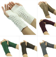 Women Winter Warm Arm Wrist Fashion Mitten Hand Warmer Fingerless Knitted Gloves