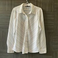 Ellen Tracy Womens White with Black Stripes Long Sleeve Button Up Shirt Size 14