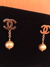 "Golden Pearl Dangle Earring 1.5"" 18K Solid Yellow Gold Fresh Water"