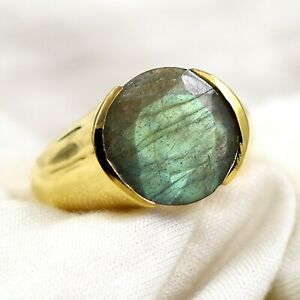 Solid 925 Sterling Silver Oval Labradorite Gemstone Boys Mens Ring Jewelry