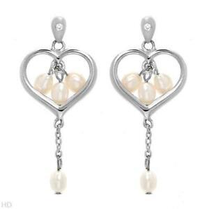 DARING DIAMONDS 925 SS WHITE PEARLS CHANDELIER NECKLACE & EARRINGS SET