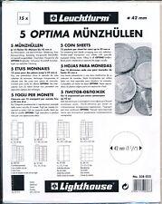 5 Recharges transparentes OPTIMA pour pièces diam. 42mm