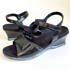 Mephisto Black Shiny Leather Wedge Heel Ankle Strap Sandals Shoes 40 US 10