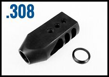 308 338 5/8x24 Thread Tanker Muzzle Brake All Steel 308 With Free Crush Washer