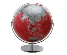 "17"" Large 2 Tone Revolving World Globe Table Top Red & Silver Modern Style"