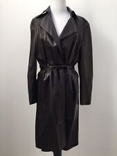 GUCCI 100% Genuine Leather Black Belted Women's Coat US size L IT 44