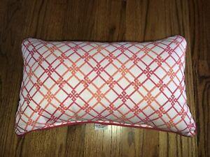 """Frontgate Indoor Outdoor Lumbar Pink & Orange Pillow 20"""" X 12"""" Keys Logo Design"""