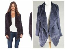 100% RABBIT FUR WATERFALL LONG SLEEVE JACKET NAVY LONG VERSION  Free PP