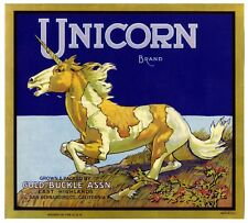 Mythological Unicorn~Rare Original 1930s East Highlands Orange Fruit Crate Label