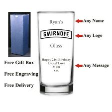 Personalised HighBall Smirnoff Glass, Birthday Gift, 18th 21st 30th 40th 50th