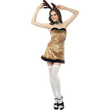 Women's Sexy Reindeer Christmas Fancy Dress Costume Small UK 8-10