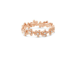 The 'Daisy' Diamond Encrusted Eternity Ring in 9k Rose Gold by Leah Van Meyer