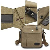 Men's Vintage Canvas Satchel School Military Shoulder Bag Messenger Bag Khaki Jи
