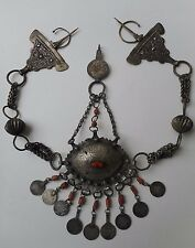 VTG Moroccan Fibulae Necklace Red Coral Berber Sterling Silver 565 Grams! Coins