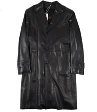 NWT $7495 BRIONI Black Leather Overcoat with Wool-Cashmere Lining M (Eu 50)