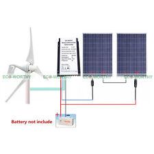 600W/H Hybrid System Kit: 2*100W Poly Solar Panel & 400W Wind Turbine Generator