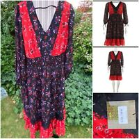 Koko By Koko Black And Red Floral Dress Size 18UK