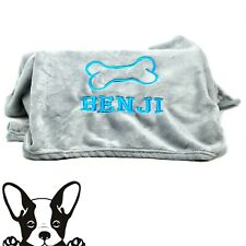 Grey Hand Made Embroidered Personalised Dog Blanket 8 Colours & 2 sizes