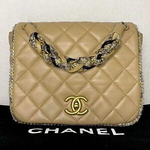 Chanel Authentic Beige Flap Bag with Tweed Trim Shoulder Bag Press Sample PreLvd