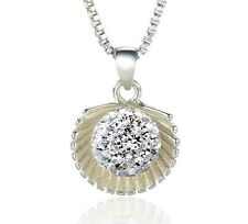 Silver Sea Shell Scallop Shape Disco Ball Charm Crystal Pendant Necklace Gift E2