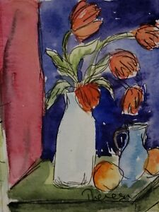 Original ACEO watercolor -  inspired by August Macke's Still Life With Tulips