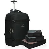 Hynes Eagle 42L Rolling Wheeled Backpack Luggage Suitcase With Packing Cube Sets