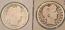 U.S.A(2)COINS BARBER QUARTERS 1898 GOOD AND 1909 D VG 0.9000 SILVER