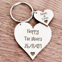 Personalised Gifts For Her Wife Girlfriend 10th Tin Ten Anniversary Keyring K29