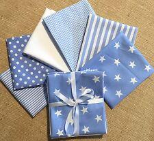 6 FQ bundle baby PALE BLUE white stars stripes spots cotton - patchwork bunting