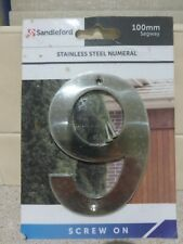 Sandleford Solid Stainless Steel Numeral 100mm Number 9