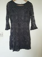 Wallis Petite Grey Floral Lace Evening Dress Size S 8 10