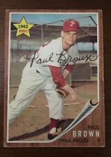 PAUL BROWN 1962 TOPPS ROOKIE RC AUTOGRAPHED SIGNED AUTO BASEBALL CARD 181 PHILLI