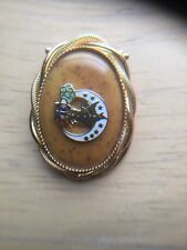 olive branch Scarf Clip Gold Tone Beautiful Signed Jeri-Lou Oval Gold tone dove