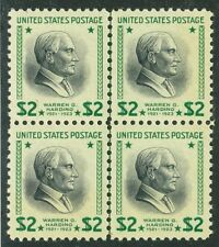 US Stamp 1938 $2 Harding Vertical Line Block of 4 Scott # 833 Mint NH XF (S168)