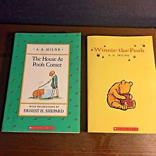 2 Book Lot THE HOUSE AT POOH CORNER & WINNIE~THE~POOH paperback A. MILNE child