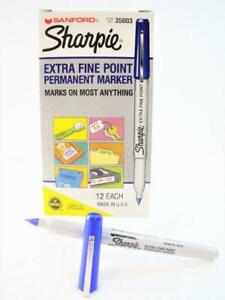 Genuine SHARPIE *EXTRA FINE POINT* BLUE 12-Count Permanent Marker Pens #35003