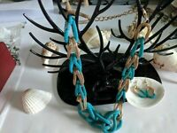 Earrings Rope Gold and Turquoise Interlocking Vintage Rare Necklace Set
