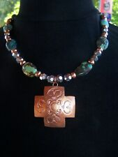 OOAK~Southwestern Turquoise Copper Glass Beaded Necklace Native American Cross