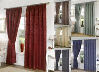 SEATTLE PLAIN DAMASK PRINT TAPE TOP FULLY LINED CURTAINS LOUNGE BEDROOM CURTAINS